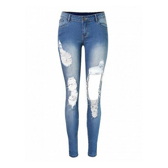 Choies Blue Cut Out Leg Dipped Skinny Jeans (€39) ❤ liked on Polyvore featuring jeans, pants, calças, blue, bottoms, white distressed skinny jeans, white ripped jeans, distressed skinny jeans, white jeans and white destroyed jeans