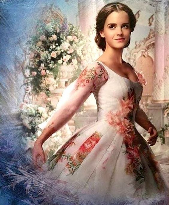 "Sneak peak of a possible rose themed wedding gown from the Emma Watson live ""Beauty and the Beast."":"