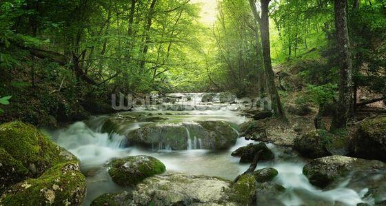 Photo personnalisé papier peint paysage, Enchanteur forêt cascade 3D peintures murales pour salon cuisine chambre étanche PVC wallpaper