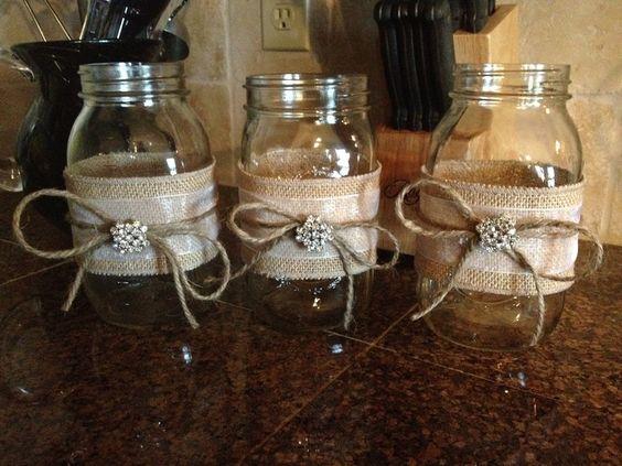crafts for wedding with mason jars | Burlap mason jars | Felicia's Wedding Crafts