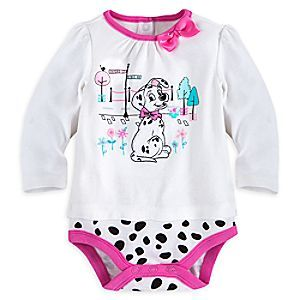 101 Dalmatians Bodysuit for Baby | Disney Store Baby will be ready for a day on the town in our adorable <i>101 Dalmatians</i> Bodysuit featuring a soft velour puppy appliqué and pink satin bow. Perfect for your pretty lil' pup!