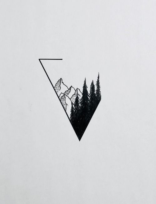 inspiration drawing forest mountains hills triangle