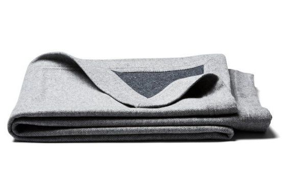 Heathered Flannel Reversible Throw, Gray