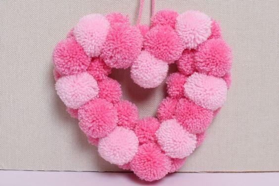 """""""heart pom pom wreath"""