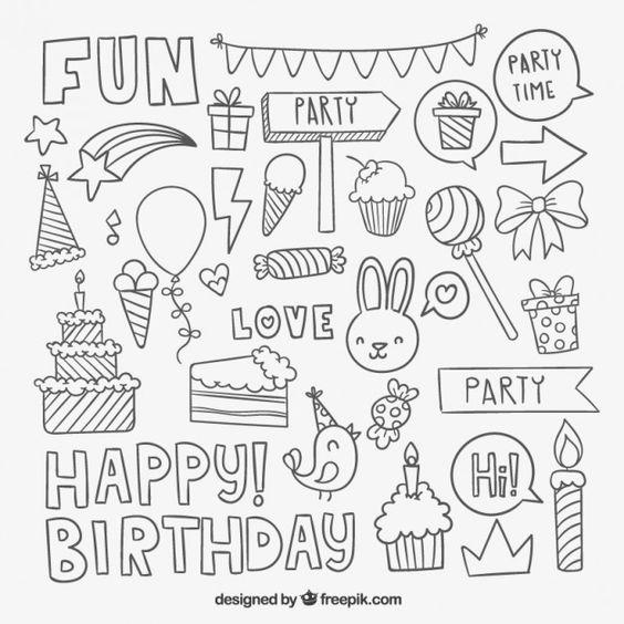 Éléments du parti Sketchy d'anniversaire Vecteur gratuit