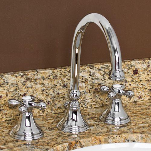 Melanie Widespread Gooseneck Bathroom Faucet Cross Handles