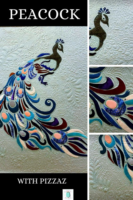 This quilt is as magnificent as the real bird! With applique, dense quilting, glitter thread and Swarovski crystals I pulled out all the stops. #experiencethequilt #quilting #applique #glitterthread #Swarovskicrystals #densequilting #e2equilting