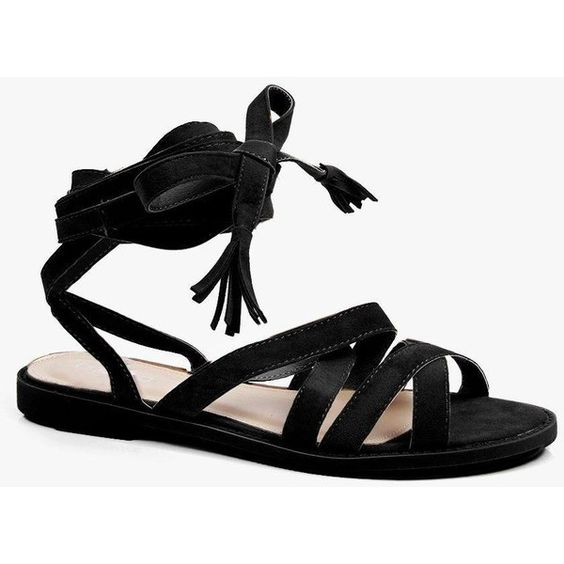 Boohoo Heidi Strappy Knee High Sandal ($32) ❤ liked on Polyvore featuring shoes, sandals, black, strappy sandals, black jelly sandals, wedge sandals, block heel sandals and gladiator wedge sandals
