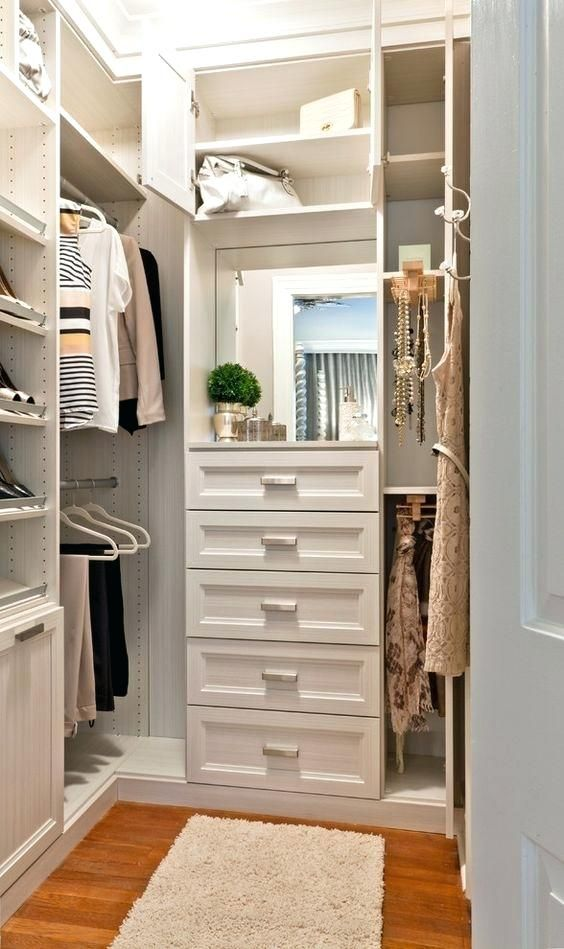 Small Walk In Closet Organizer Large Wardrobe With Racks And Shoe Shelves Drawers And A Small Mirror Small Walk In C Closet Decor Closet Remodel Closet Bedroom