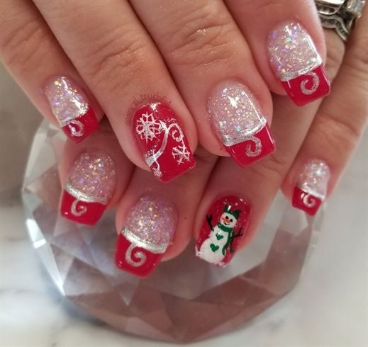 Christmas Nail Designs.Glitter Acrylic With Gel Polish And Hand Painted Designs