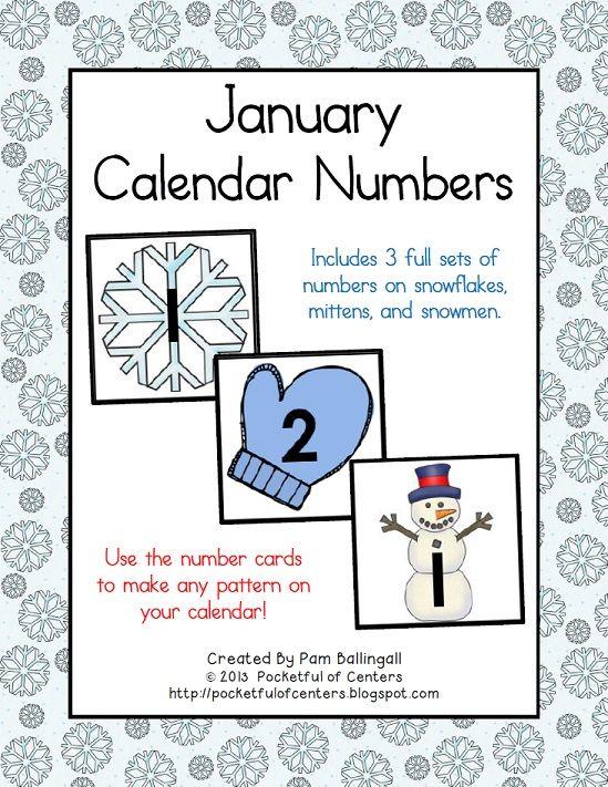 Kindergarten Calendar Chart : Calendar numbers january and on pinterest