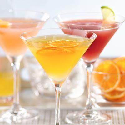 BETTER OPTION: SKINNY CLEMENTINE MARTINI  130 calories, 7 grams sugar    Ingredients:  Ice cubes  2 tbsp. gin or citrus vodka  1 tbsp. elderflower liqueur or clear orange liqueur  3 tbsp. fresh-squeezed clementine juice, fresh-squeezed pink grapefruit juice, or pomegranate
