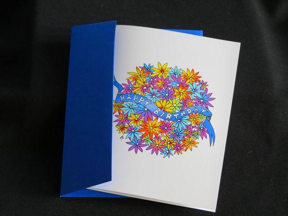 """Blank Art Card - """"Happy Birthday"""" - 5 x 7 - Mandala - Floral - Colorful - Whimsical - Joyful - Fun - Cheerful by CreateThriveGrow on Etsy https://www.etsy.com/listing/254985279/blank-art-card-happy-birthday-5-x-7"""