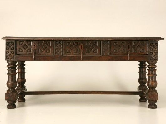 Antique Spanish Carved Desk or Sofa Table c. 1715 with 3 drawers for Sale |  Old Plank | Interior details/decor | Pinterest | Sofa tables, Plank and  Desks - Antique Spanish Carved Desk Or Sofa Table C. 1715 With 3 Drawers