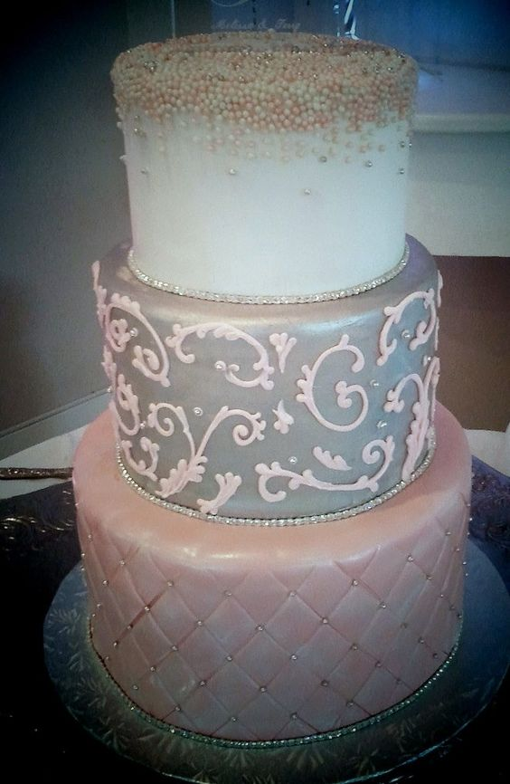 white silver and pink wedding cake pink and silver wedding cake quilted fondant pink piping 27320