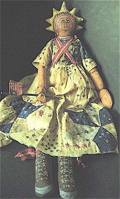 OOAK Primitive Folk Art Doll LADY LIBERTY Original by FolkArtWorks