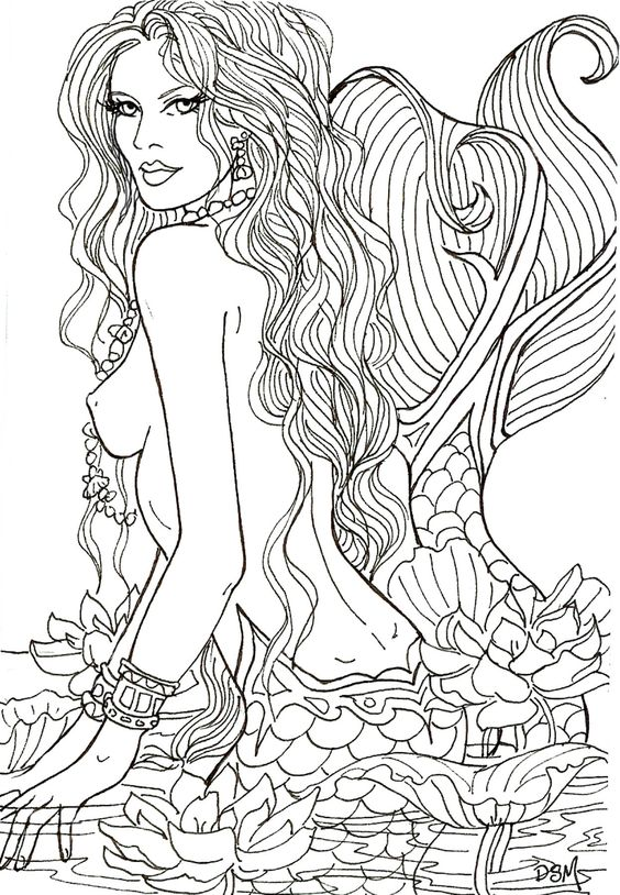 LOTUS SIGHTING by Artist Diane S Martin Mermaid Fantasy Myth Mythical Mystical Legend Siren Whimsy Whimsical Mother Child Baby Art Coloring pages colouring adult detailed advanced printable Kleuren voor volwassenen coloriage pour adulte anti-stress kleurplaat voor volwassenen Line Art Black and White: