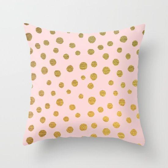 GOLDEN+DOTS+-+PINK+Throw+Pillow+by+Colorstudio+-+$20.00