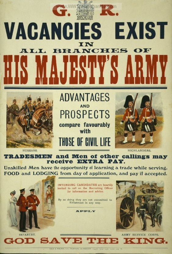 British WW1 Propaganda Poster - His Majesty's Army ... vacancies exist. LOC Summary: Recruiting poster for British Army shows four Army units, Hussars, Highlanders, Infantry and the Army Service Corps.