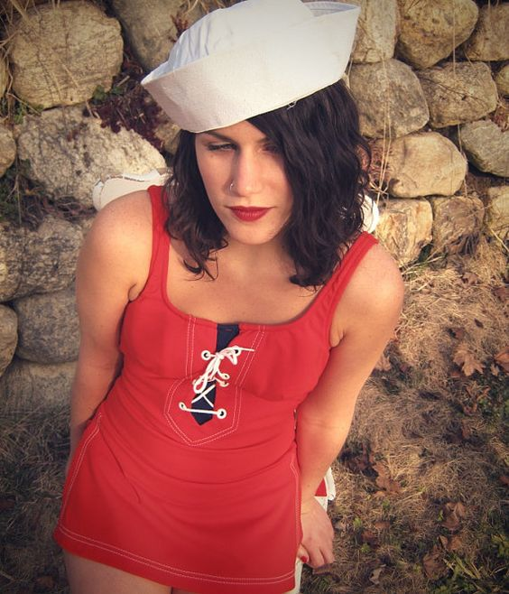 Vintage ahoy 1950's  sailor girl pin up by MissKittenVintage, $70.00: