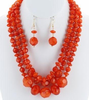 Chunky Orange Multi-Strand Layered Marbleized Resin Necklace Set D1S1673