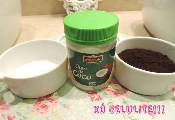 receita anti-celulites:  1- 1/2 xícara de chá de pó de café mais 2 colheres de sopa de sal,  2- Misture bem o café com o sal,  3- Adicione 4 colheres de sopa de óleo de coco,  4- Misture bem os três ingredientes até formar uma pasta.