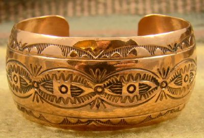 Item # 725T - Wide Navajo Decorative Stamped Copper Bracelet