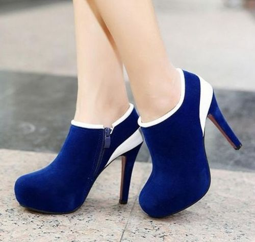 Graceful Candy color matching  Ankle Boots (black,blue) Ankle Boots from stylishplus.com