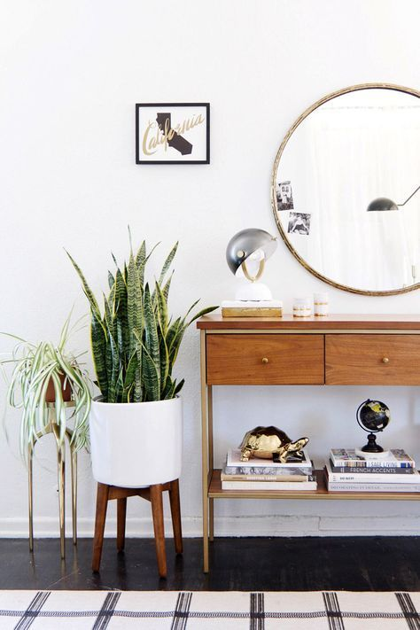 modern bright entryway with greenery plants with a retro vintage twist and round circle gold mirror