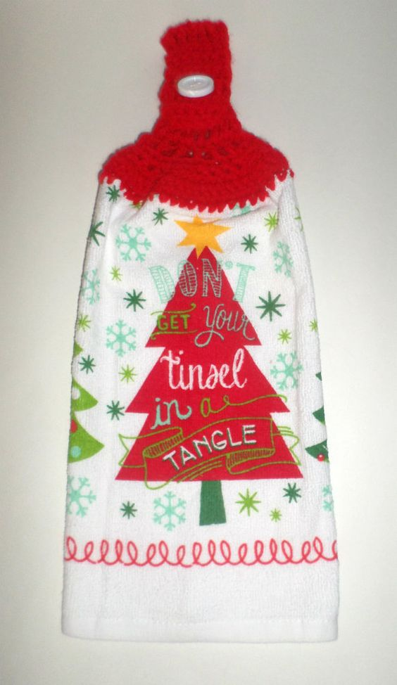 Hanging Christmas Towel  Crochet Top Towel  by CarriesCraftStore