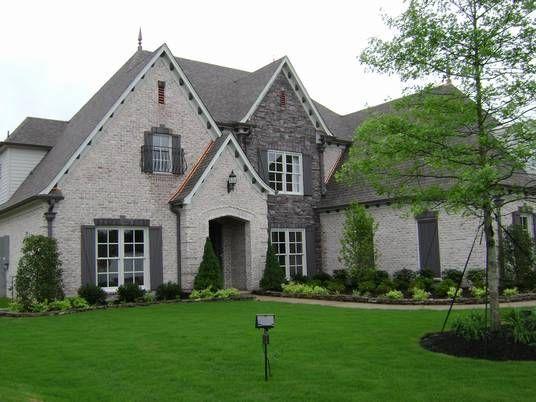 White Brick Dark Gray Stone Stone Exterior Houses Brick Exterior House Gray House Exterior