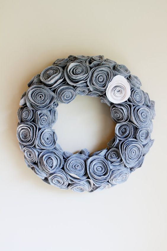 grey felt rosette wreath