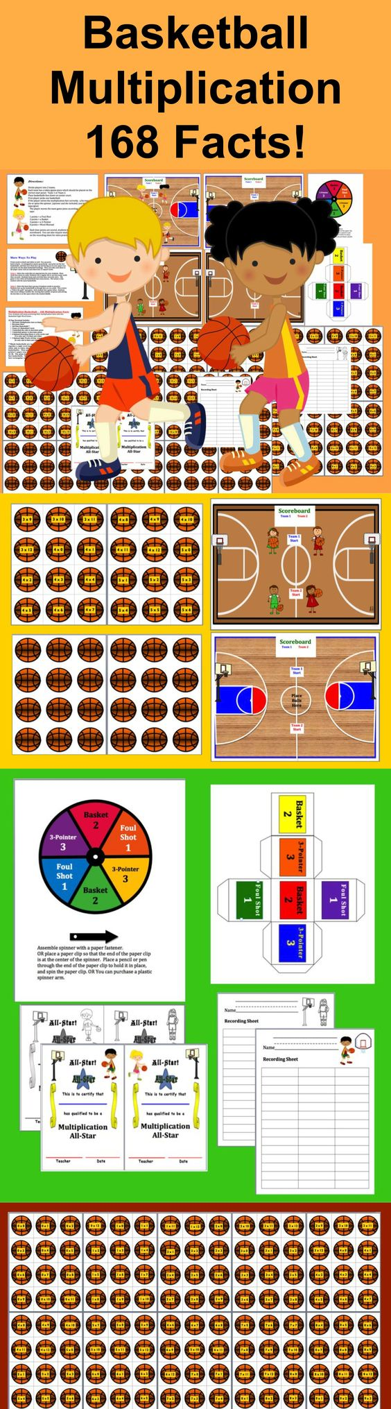 Worksheet Basketball Multiplication basketball multiplication scalien math centers 3 ways to play 168