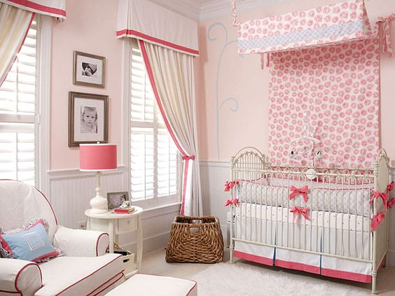Great window treatments (from the blinds to the curtains) and love that they tie to the chair and crib