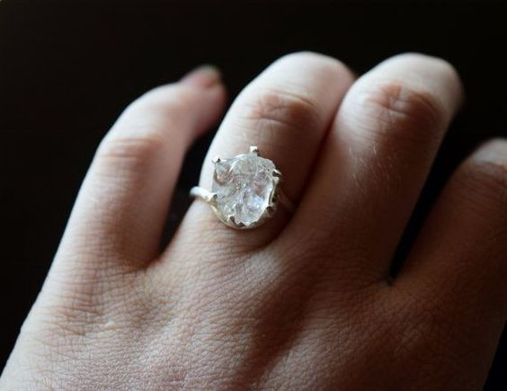 RESERVED Raw Diamond Ring Uncut Engagement Ring Sterling
