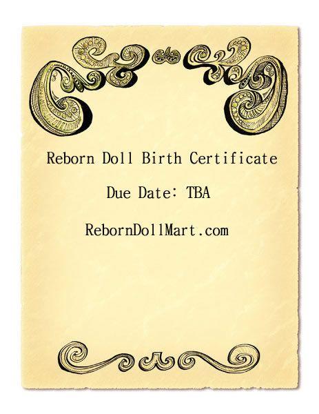 Reborn Doll Birth Certificate Reborn Dolls Pinterest Reborn - pictures of blank birth certificates