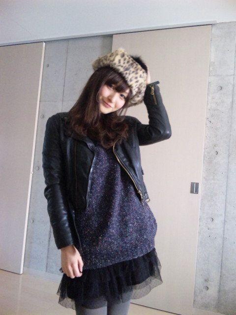 phorbidden:  Today's Fashion|海下真夕のブログ  昨日COLKINIKHAで買ったベレー帽を主役に、他は色味をおさえてガーリーロックな感じにしてみました