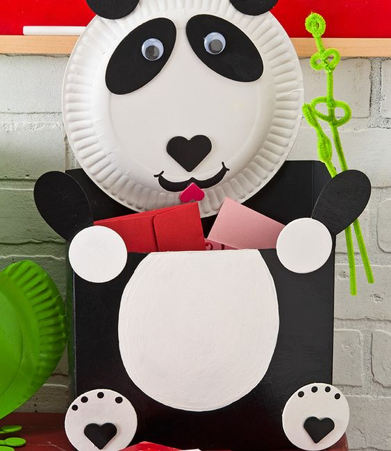 Panda Bear #Valentine Card Holder. #kids