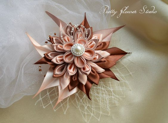 Satin Peach Beige Brown Kanzashi Flower with veil and bead embellishments