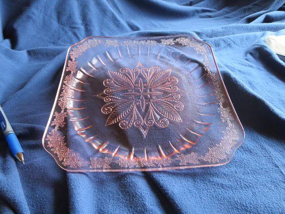 Plato de vidrio vintage thumbprint