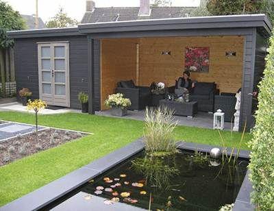 Pour le fond du jardin avec chambre maybe ext rieur for Cabanon de jardin gris