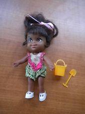 Vintage Liddle Kiddles Rolly Twiddle Black Doll With Little Orange Pail Shovel