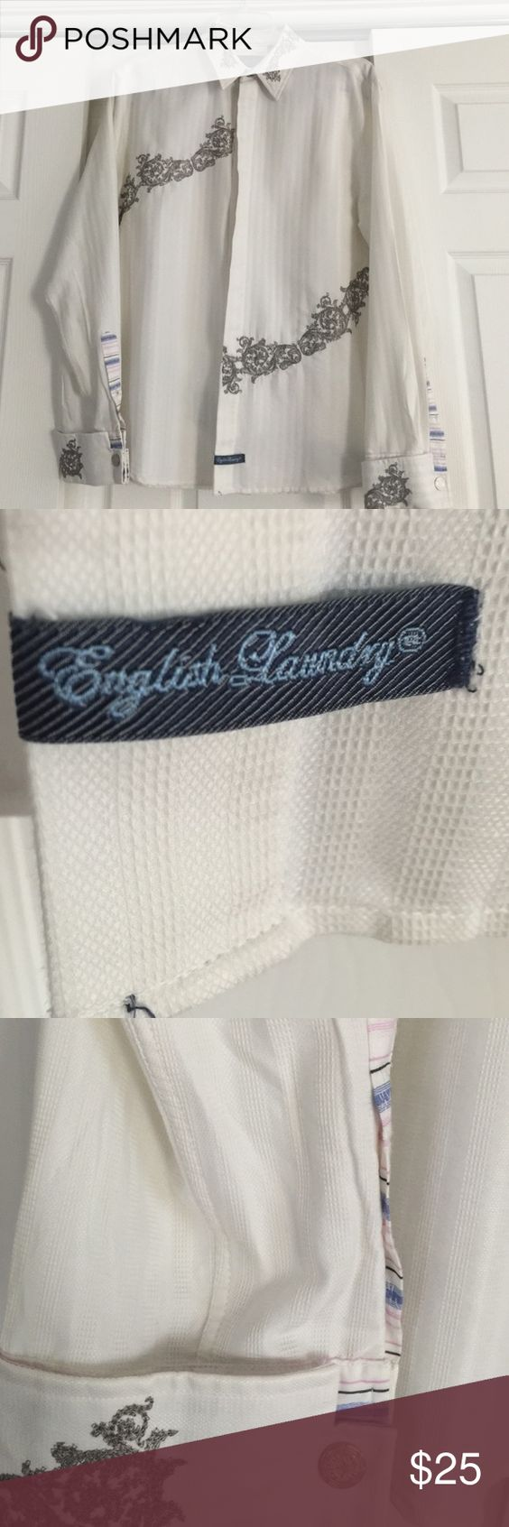Men's English laundry button down shirt White with grey detail. English Laundry Shirts Dress Shirts