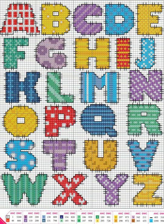 Not sure if this is cross stitch or hama beads but I love the colours The site is in Russian but there is a translation and there are lots of other lovely alphabet designs here, too. (Gallery.ru / Фото #8 - 1 - KIM-3)