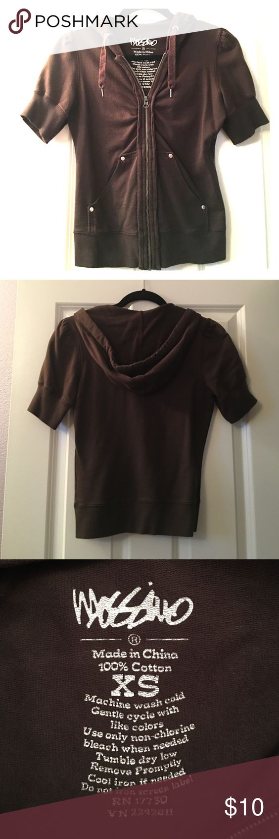 Mossimo short sleeve hoodie Cute short sleeved zip up hoodie...washed and never worn.  Chocolate brown.  100% cotton Mossimo Supply Co Tops Sweatshirts & Hoodies