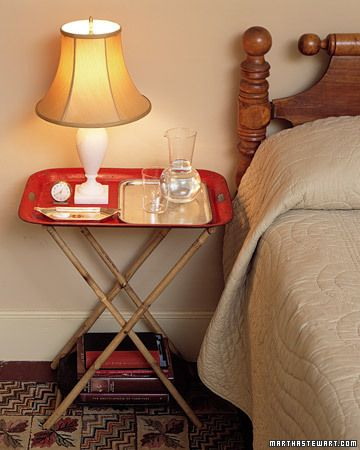 I love the vintage tray table, I have two green ones in my guest bedroom. Love it!