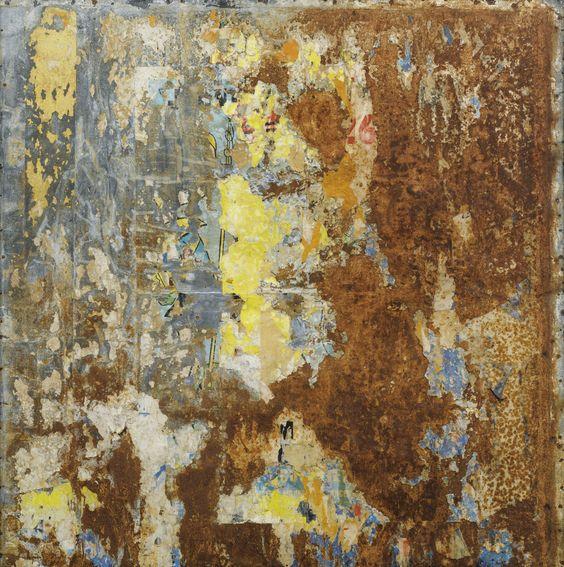 Raymond Hains 1926 - 2005 SANS TITRE SIGNED AND DATED 65 ON THE REVERSE; TORN POSTERS ON METAL.  EXECUTED IN 1965.  signé et daté 65 au dos affiches lacérées sur tôle de fer 101 x 101 cm; 39 3/4 x 39 3/4 in. Exécuté en 1965.