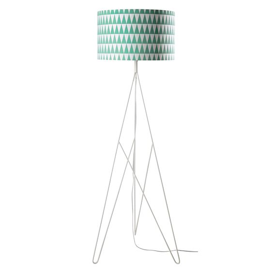SWEET WAVE metal and cotton tripod floor lamp in green H 175cm