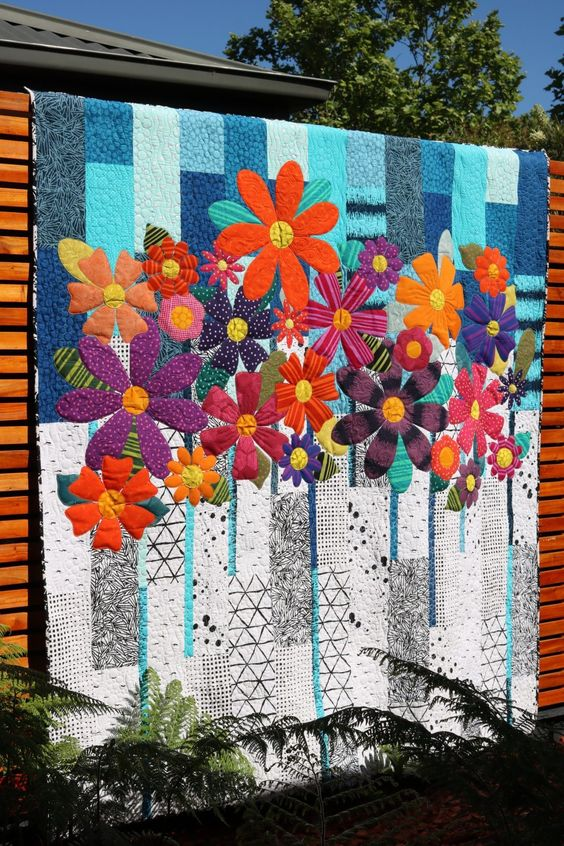 11. Indah Blossoms Downloadable Pattern – Free Bird Quilting Designs