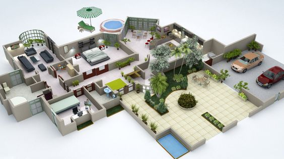 Salle De Bain Chambre Open Space : 3D Home Design Floor Plan